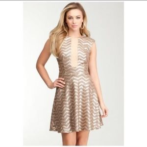 [Bebe] Gold Sequined Striped Fit & Flare Dress